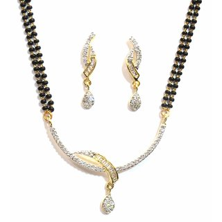 Jewelshingar Cubic Zirconia Mangalsutra Set For Women (10282-p2)