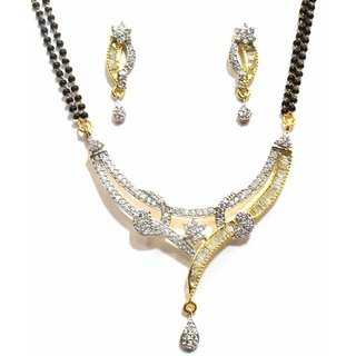 Jewelshingar Cubic Zirconia Mangalsutra Set For Women (10699-p2)