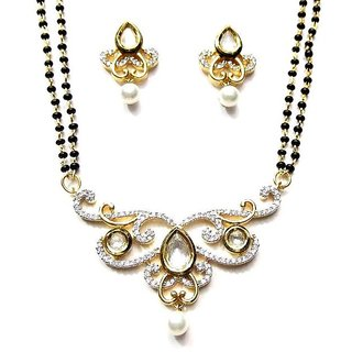 Jewelshingar Cubic Zirconia Mangalsutra Set For Women (2-msk-p2)