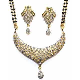 Jewelshingar Cubic Zirconia Mangalsutra Set For Women (7948-p2)
