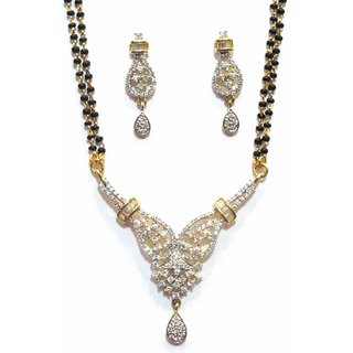 Jewelshingar Cubic Zirconia Mangalsutra Set For Women (7962-p2)