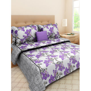 Desi Connection  Floral Cotton Double Bed Sheet(4327)