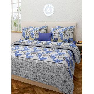 Desi Connection  Floral Cotton Double Bed Sheet(4328)