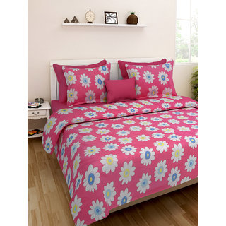 Desi Connection  Floral Cotton Double Bed Sheet(4332)