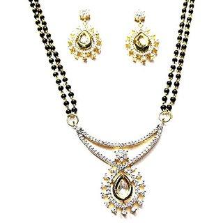 Shingar Ksvk Jewels Womens American Diamond A.D. Kundan Ruby Mangalsutra