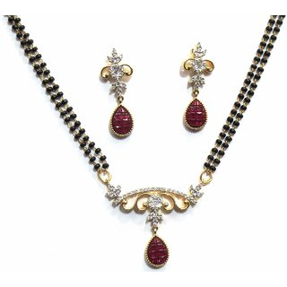 Shingar Ksvk Jewels Womens American Diamond A.D. Ruby