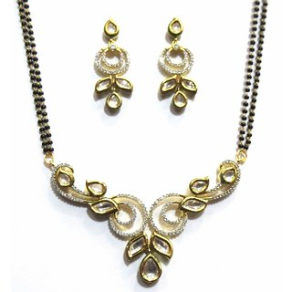 Shingar Jewellery Womens Cubic Zirconia Kundan Mangalsutra Ruby