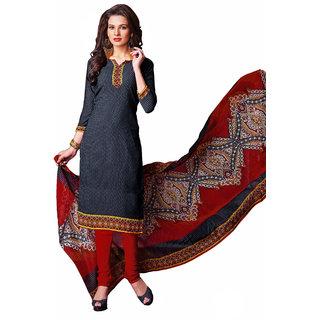 Parisha Black Crepe Printed Kurta & Churidar Dress Material