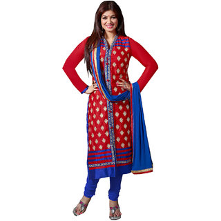 Parisha Red Cotton Embroidered Salwar Suit Dress Material (Unstitched)