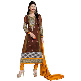 Parisha Brown Georgette Embroidered Salwar Suit Dress Material (Unstitched)