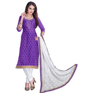 Parisha Purple Chanderi Embroidered Salwar Suit Dress Material (Unstitched)