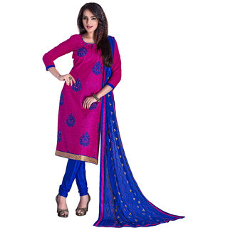 Parisha Pink Chanderi Embroidered Salwar Suit Dress Material