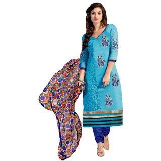 Lovely Look Sky Blue Embroidered Un-Stitched Straight Suit LLKKFMFER5510