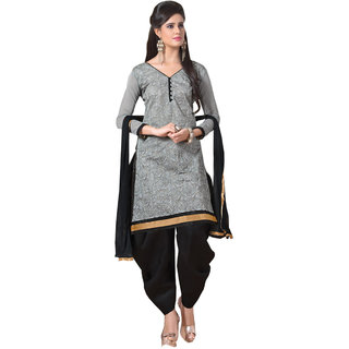 Lovely Look Gray Embroidered Un-Stitched Patiyala Suit LLKKFMFAG4205