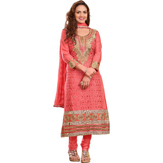 Parisha Peach Cotton Embroidered Salwar Suit Dress Material