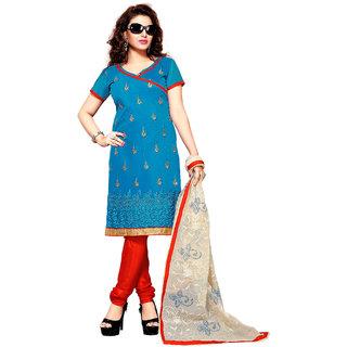 Parisha Blue Chanderi Embroidered Kurta & Churidar Dress Material