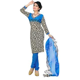 Parisha Cream Silk Printed Kurta & Churidar Dress Material (Unstitched)