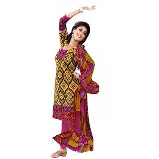 Parisha Yellow Cotton Printed Kurta & Churidar Dress Material (Unstitched)