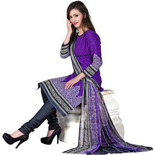 Parisha Purple Cotton Printed Kurta & Churidar Dress Material (Unstitched)