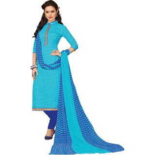 Parisha Blue Cotton Printed Salwar Suit Dress Material