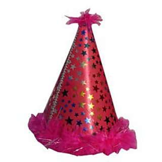 Star Feather Plastic Hat-Hot Pink