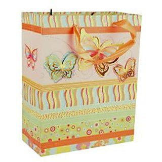 Paper Bag Butterfly Print -Orange
