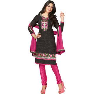 Lovely Look Black Embroidered Un-Stitched Chudidar Suit LLKKFNIK30002