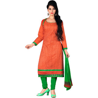Lovely Look Orange Embroidered Un-Stitched Straight Suit LLKKFSDSN8010