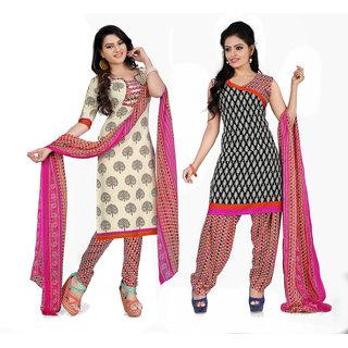 Parisha Cream Crepe Printed Salwar Suit Dress Material