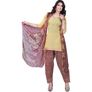 Lovely Look Beige Printed Un-Stitched Patiyala Suit LLKKFSWSPTH520027