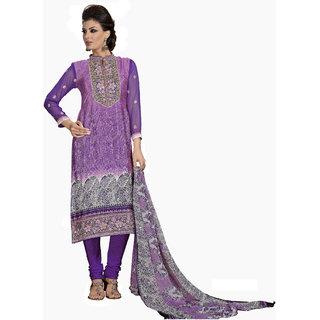 Parisha Pink Crepe Embroidered Kurta & Churidar Dress Material