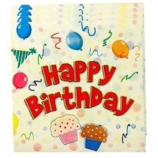Happy Birthday Napkin - Red
