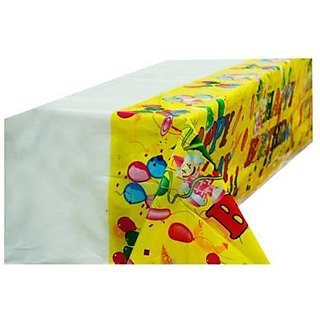Happy Birthdy Table Cover - Yellow