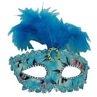 Stone Studded Feather Eye Mask - Blue