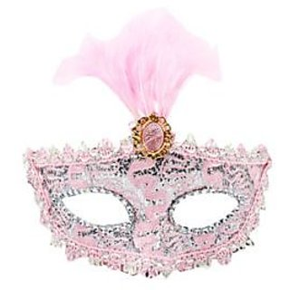 Stone Studded Feather Eye Mask - Pink