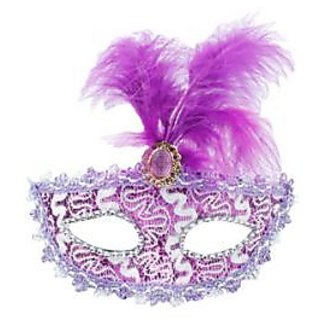 Stone Studded Feather Eye Mask - Purple