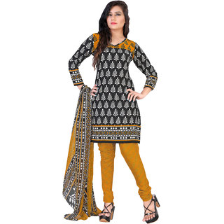 Lovely Look Black Printed Un-Stitched Chudidar Suit LLKKFNKFSM525004