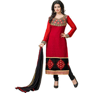 Lovely Look RED Embroidered Un-Stitched Straight Suit LLKKFtarzen01