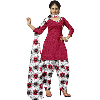 Lovely Look Red Printed Un-Stitched Patiyala Suit LLKKFSJP226RED