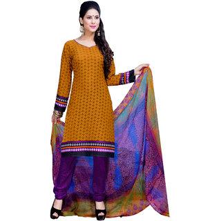 Parisha Yellow Crepe Printed Kurta & Churidar Dress Material