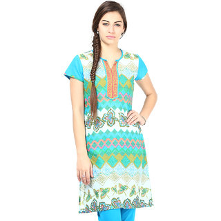Prakhya Printed Womens Long Straight cotton kurta-SW041BLUE