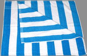 KUNDAN COTTON STRIPE BLUE WHITE 1 PIECE BATH TOWEL