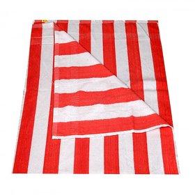 KUNDAN COTTON STRIPE LIGHT RED WHITE 1 PIECE BATH TOWEL