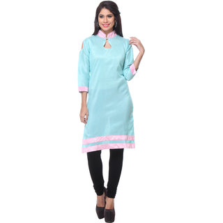 Lavennder Blue Silk Straight Kurti For Women