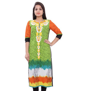 Jaypore Fashion Green Printed With  Strong embroidery Kurti