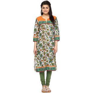 Prakhya Printed Womens Long Straight cotton kurta-SW095ORANGE