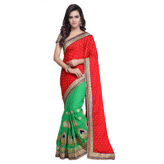 Sareemall Green & Red Viscose Embroidered Saree With Blouse