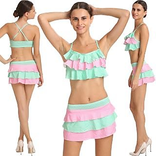 Charismatic Pink And Sea Green Haltered Neck Frilled Top Bikini With Polka Dots