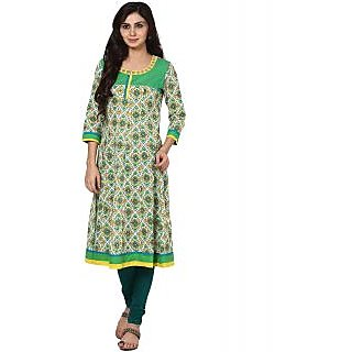 Prakhya Printed Womens Long Anarkali cotton kurta-SW519GREEN