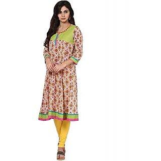 Prakhya Printed Womens Long Anarkali cotton kurta-SW519PINK